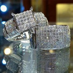 Wedding Rings Sets His And Hers Diamonds Princess Cut Ideas For 2019 Diamond Wedding Rings, Diamond Rings, Diamond Engagement Rings, Wedding Bands, Wedding Rings Sets His And Hers, His And Hers Rings, Ring Watch, Dream Ring, Princess Cut Diamonds