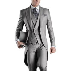 >> Click to Buy << FOLOBE Custom Made Gray Mens Suit Groom Tuxedos Long Wedding Suits Dress Suits Formal Party Suits Blazers #Affiliate