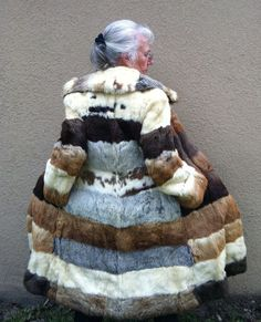 Full Length Rabbit Fur Coat in Gray, White, Black, Tan Stripes. $349.00, via Etsy.