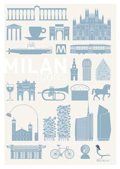 M♥ Milan Icons Poster pittogrammi 02 Rome Buildings, Tattoo Milano, Duomo Milano, Milan City, City Illustration, Northern Italy, Pictogram, Visual Communication, Wall Design