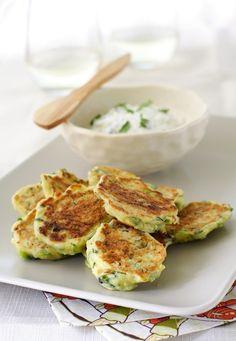 Zucchini-Feta Cheese Pancakes with Greek style Tzatziki sauce