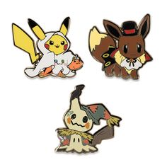 """Official Halloween Pikachu, Eevee, and Mimikyu Pokémon Pins approximately 1.5"""" across."""