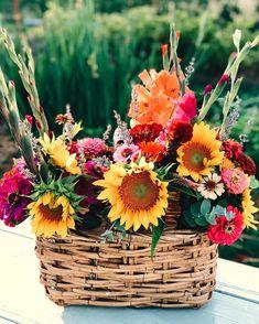 Summer basket bouquets