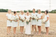 Image by Paul Joseph Photography - Shustoke Farm Barns wedding venue in Warwickshire with a David Fielden bridal gown and short mint Ted Baker bridesmaid dresses and oversized white hydrangea bouquets by Paul Joseph Photography Blue Bridesmaid Dresses Short, Bridesmaid Bouquet, Wedding Bridesmaids, Shift Dresses, Rustic Wedding Venues, Luxe Wedding, Wedding Venues Warwickshire, White Hydrangea Bouquet