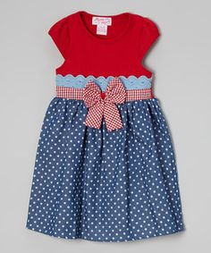 12.99 Look what I found on #zulily! Red & Blue Star A-Line Dress - Toddler & Girls by Unik #zulilyfinds