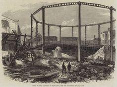 """Ruins of the Gasworks at Nine Elms, London after explosion. Old London, Illustration, November, Painting, Image, Twitter, News, Art, Craft Art"