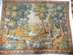 Large old tapestry signed Aubusson