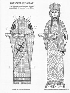 The Empress Irene, Infamous Women Paper Dolls Colouring Book, Bellerophon Books Abc Coloring Pages, Coloring Books, Drawing Reference, Line Drawing, Fantasy Craft, Paper Art, Paper Crafts, Paper People, She Wolf
