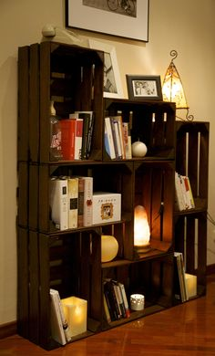 Bookshelf made with recycled fruit boxes / Could be made into entertainment center