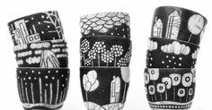 Voici ma toute nouvelle collection de bols et gobelets...     des dessins et des motifs tout frais ! *     D'autres seront à découvrir tou...