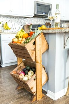 Love heading to the farmer's market? Looking for a fun way to showcase your fruits and vegetables, while saving counter space? Try building this DIY two-tier produce stand to give all your fruits and vegetables a functional, stylish home right in your kit Farmhouse Style Kitchen, Diy Kitchen, Kitchen Decor, Kitchen Storage, Kitchen Cart, Kitchen Organization, Fresh Farmhouse, Drawer Storage, Kitchen Counters