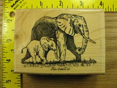 ELEPHANT MOM WITH CALF BY STAMPIN UP Rubber Stamp #4010