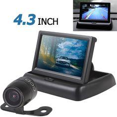 Горячие Зеркало Монитор Автомобиля 4.3 Дюймов 2-канальный Вход Сзади Автомобиля View Monitor + Водонепроницаемый 420 ТВЛ 18 мм Объектива Обратный Парковка камера