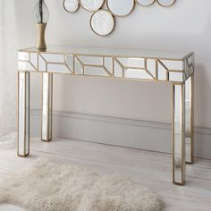LUXURY FURNTIRUE   gorgeous mirroared console table perfect for your entryway   www.bocadolobo.com #consoletableideas #modernconsole