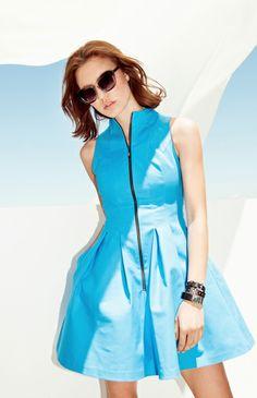Blue zipper dress from Cue Fashion Brand, New Dress, Zipper, Skirts, Blue, Shopping, Tops, Dresses, Vestidos
