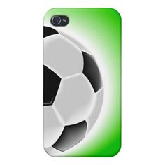 Unique, trendy and modern sport iPhone 4 case with contemporary vector image of soccer ball on light green background. Made for the soccer fan / lover, that great soccer team player or awesome (football) coach. Fun and cute present for mom's or dad's birthday, Mother's or Father's day, Christmas, or original gift for the sporty man or woman who deserves a cool, classy and stylish phone cover. Also available for iPhone 3 and 5, Samsung Galaxy S2 and S3, iPod Touch, and Motorola Droid Razr.
