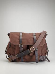 John Varvatos Star USA Accessories   Canvas Utility Messenger Bag