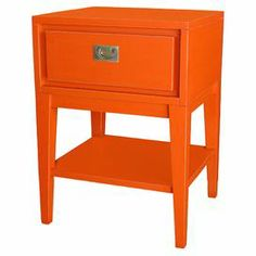 "Living room?   Product: Side tableConstruction Material: WoodColor: OrangeFeatures: One drawerOpen lower shelfHandmade Dimensions: 25"" H x 18"" W x 16"" D"