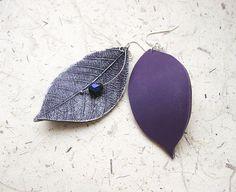 Purple Leaves Clay Earrings