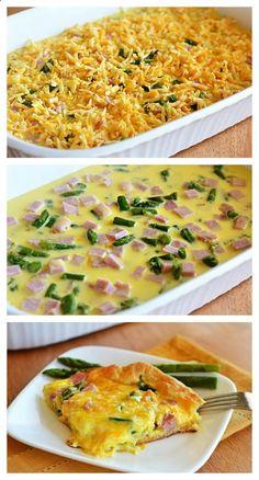 Cheesy Ham  Asparagus Breakfast Bake - this is an amazing brunch idea!