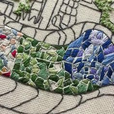Par Guell, Barcelona, Embroidery : Process embroidery by Charles and Elin Hand Embroidery Patterns Free, Crewel Embroidery Kits, Hand Embroidery Videos, Embroidery Flowers Pattern, Vintage Embroidery, Embroidery Techniques, Ribbon Embroidery, Cross Stitch Embroidery, Beginner Embroidery