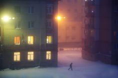 """""""Below Zero"""": French Photographer Christophe Jacrot Captures Russian City Of Norilsk Covered In A Snow Blizzard Urban Photography, Night Photography, Street Photography, Christophe Jacrot, Snow Blizzard, The Worst Witch, Vivian Maier, Robert Doisneau, City Aesthetic"""