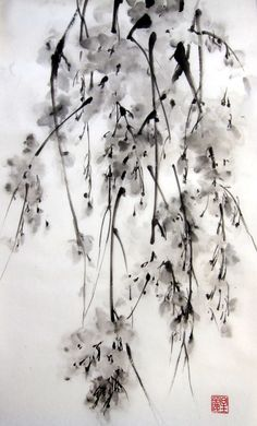 Японская живописи тушью на рисовой бумаге 13x20 по Suibokuga на Etsy