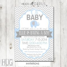 Set of 12 Personalized Blue Elephant Baby Shower Invitations in Blue and Gray Chevrons and Polka Dots by HeadsUpGirls, $18.00