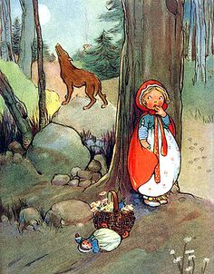 Red Riding Hood-Mabel Lucie Atwell—Hiding Behind... - mlle ghoul's fairy tales from the shadows