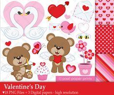 Día de San Valentín - Set de Clip Art y Papeles Digitales