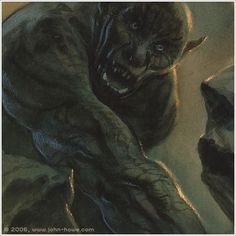 John Howe :: Illustrator Portfolio :: Home / From Hobbiton to Mordor / Cards and Such / Cave Troll Sci Fi Fantasy, Fantasy World, John Howe, Fellowship Of The Ring, D D Characters, Jrr Tolkien, Dark Places, Middle Earth, Fantasy Creatures