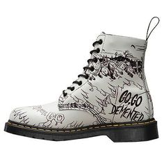 4653bb02a30f Dr.Martens Demented Are Go Back Pascal 1460 8- Eyelet Black White Womens  Boots