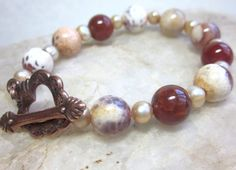 Carnelian and pearl bracelet with copper toggle by EyeCandybyCathy, $28.00