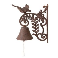 In this electronic age, sometimes it's nice to have something a bit more traditional. This attractive cast iron door bell with its prettybird and olive branchdesign and ringing bell will certainly fit the bill and will bring a touch of French country style to your front gateway, porch or back door. It fixes to the wall with heavy duty screws (not supplied) and the bracket measures 24cm high.   One of a range of decorative garden accessories from Anticline, a small company ...