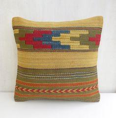 Green Yellow Striped Kilim Pillow Cover by PillowTalkOnEtsy, $52.00
