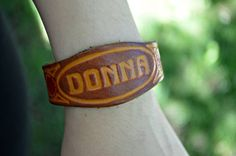 Leather DONNA Metal Snap Clasp Bracelet w Flower Accents by 4ubb, $6.00