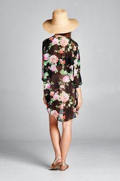 Sheer Black Floral Print Kimono – ROUTE 32 (Chiffon Top Christmas Gifts)