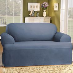 This Sure Fit solid duck cloth T-cushion loveseat slipcover features a one-piece design for loveseats with T-cushions and a durable cotton construction. Loveseat Covers, Armchair Slipcover, Loveseat Slipcovers, Cushions On Sofa, Furniture Covers, Home Furniture, Furniture Design, Sure Fit Slipcovers, Modern Bedroom Design