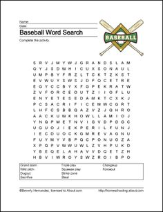 Baseball printables from homeschooling. about.com