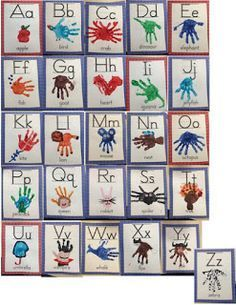 Classroom handprint alphabet chart and student alphabet book. Great to hang as an alphabet chart in your classroom for your students to refer to, giving your students ownership of their learning environment! Abc Crafts, Daycare Crafts, Letter A Crafts, Preschool Activities, Santa Crafts, Kids Crafts, Preschool Letters, Alphabet Activities, Preschool Classroom