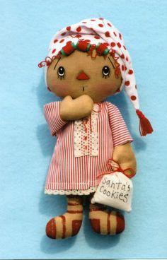 Primitive Christmas Raggedy Ann Santa Angel Elf Doll Ornies Pattern   eBay