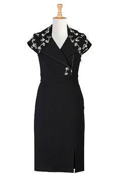 I <3 this Asymmetrical front zip embellished ponte dress from eShakti - bespoke FTW!