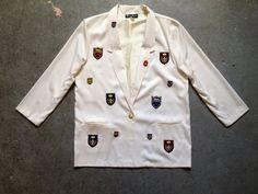 #vintage #80s #blazer. #prep #school style with embroidered crests. #preppy #boyfriend #jacket. #nautical #etsy #shopping  | ReRunRoom | $46.00