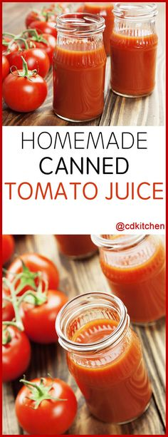 Surplus of ripe tomatoes from the garden? Canning your own tomato juice is one of the best way to preserve their fresh flavor for year-round use in bloody Marys, soups, or just as a healthy drink. Fresh Tomato Juice Recipe, Homemade Tomato Juice, Canned Tomato Recipes, Canning Tomato Juice, Canned Juice, Canning Corn, V8 Juice, Canning Tips, Ball Canning Recipe
