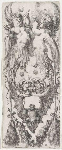Ornament met bellenblazende putti, Stefano della Bella, 1620 - 1664