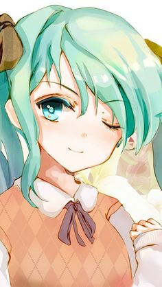 hatsune, miku, vocaloid, anime girl, vest, anime manga wallpaper for android, iphone and whatsapp