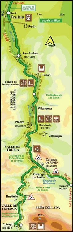 Mapa de la ruta de la senda del oso