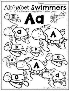 Find and Color the Matching Target Letter Turtles -Ocean Worksheets Preschool