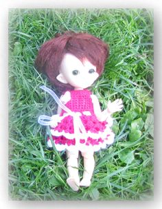 Crocheted dress on a doll dark pink white light pink Yellow 4 skirts The dress consists of two skirts Pink Yellow, Pink White, Fairy Land, White Light, Bjd, Dolls, Free Shipping, Christmas Ornaments, Holiday Decor