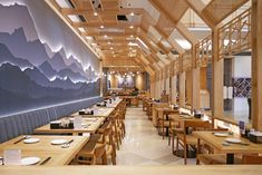 Located in Kota Kasablanka Mall, we approach the design with a modern Japanese style that uses wood and stone elements and complemented with Japanese paintings and wordings that decorate the wall.
